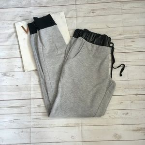 rue 21 womens s grey joggers leather accents polye